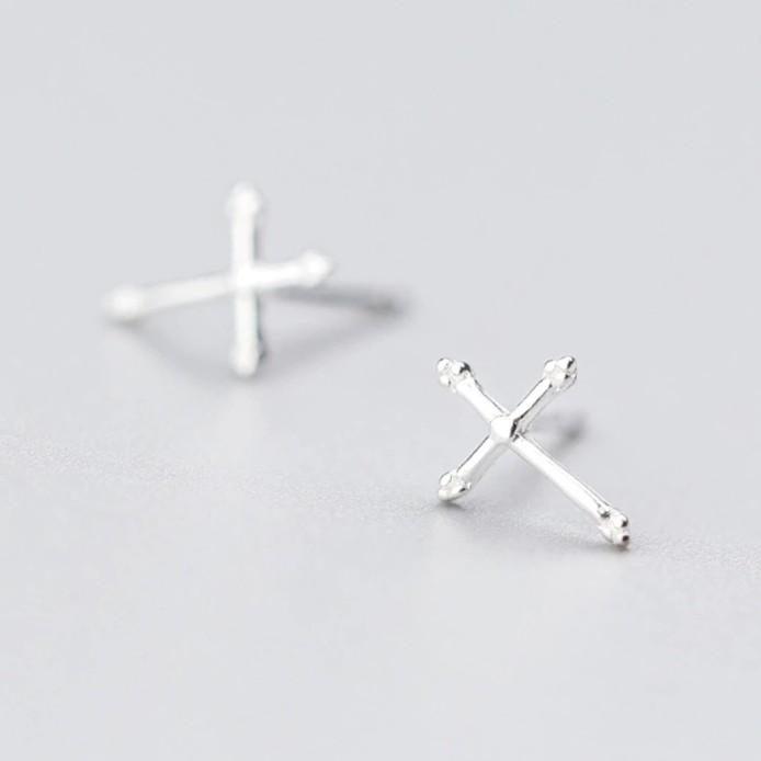 Sterling Silver Tiny Cross Stud Earrings - 925 Stud Earrings - 925 Real Silver Earrings - Minimal Geometric Stud Earrings - Playful Silver Earrings Lux & Rose Default Title
