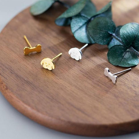 Sterling Silver Tiny Dog Bone Stud Earrings - 925 Stud Earrings - 925 Real Silver Earrings - Asymmetric Dog Bone Earrings - Playful Silver Earrings Lux & Rose