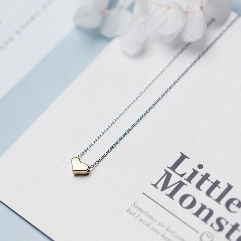 Sterling Silver Tiny Gold Heart Necklace - 925 Real Silver Necklace - Classic Silver Necklace Lux & Rose