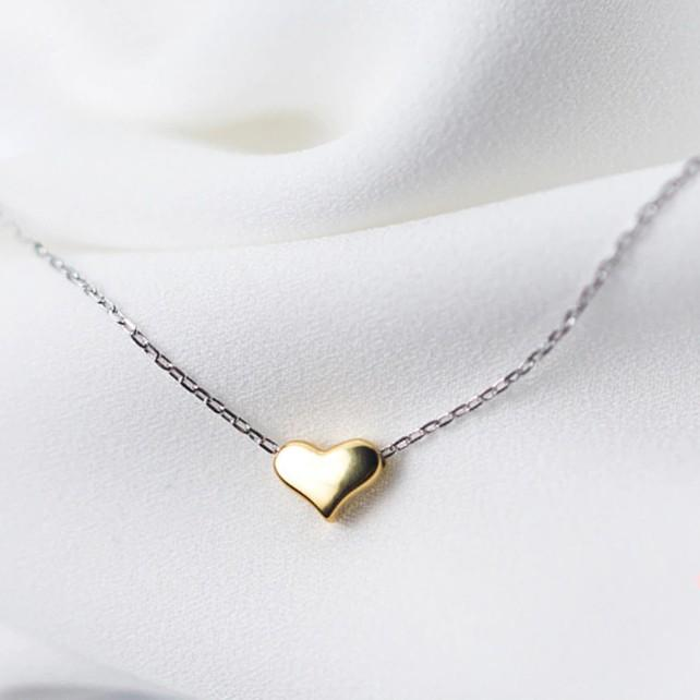 Sterling Silver Tiny Gold Heart Necklace - 925 Real Silver Necklace - Classic Silver Necklace Lux & Rose Default Title