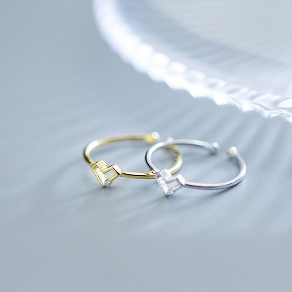 Sterling Silver Tiny Heart Rings - 925 Real Silver Rings - Classic Silver Rings - Adjustable Cocktail Rings Lux & Rose