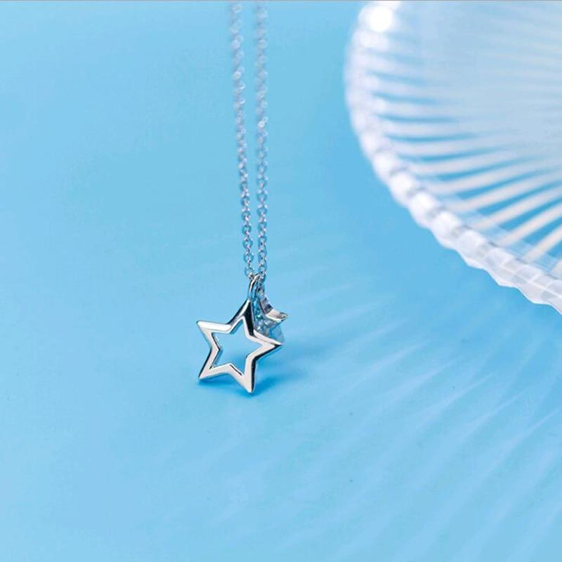 Sterling Silver Tiny Hollow Star Necklace - 925 Real Silver Charm Necklace - Classic Silver Necklace Lux & Rose