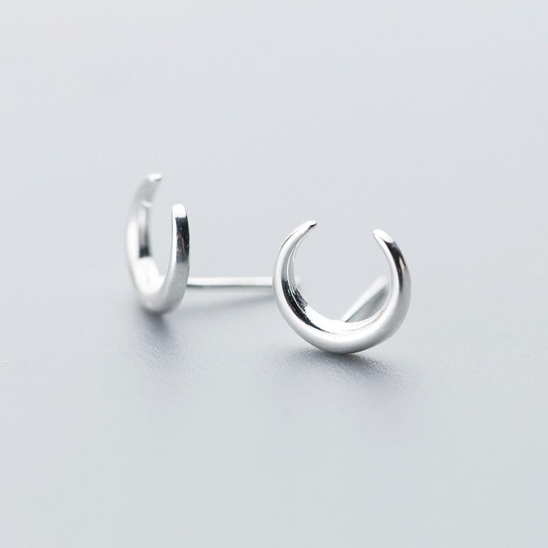 Sterling Silver Tiny Moon Stud Earrings - 925 Stud Earrings - 925 Real Silver Earrings - Playful Silver Earrings Lux & Rose