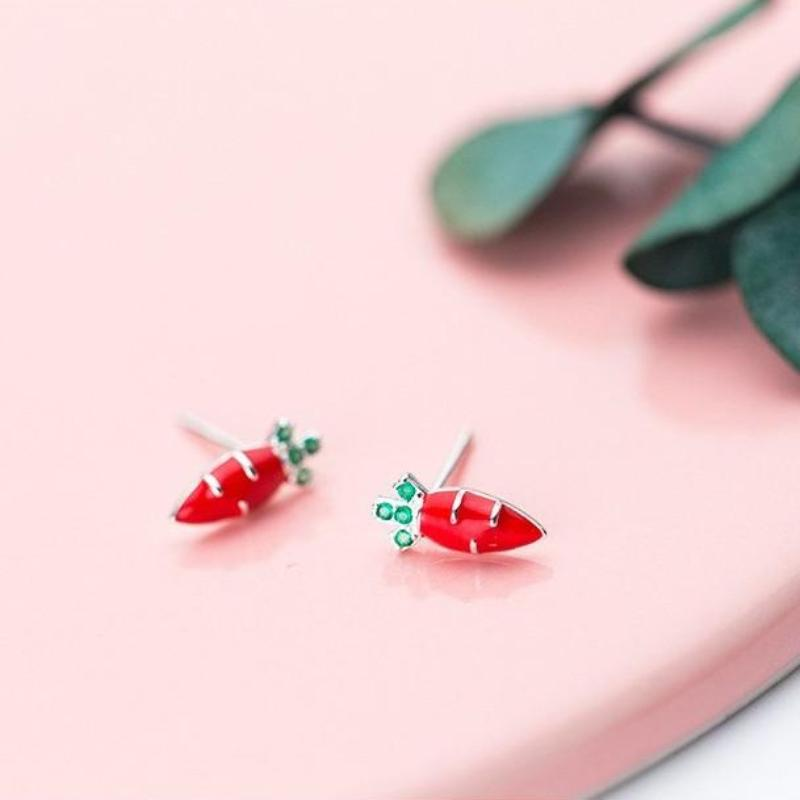 Sterling Silver Tiny Radish CZ Stud Earrings - 925 Stud Earrings - 925 Real Silver Stud Earrings - Radish Stud Earrings - Tiny Radish Earrings - Cubic Zirconia Stud Earrings - CZ Radish Stud Earrings Lux & Rose