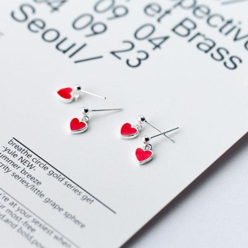 Sterling Silver Tiny Red Heart Stud Earrings - 925 Cute Heart Earrings - Drop Heart Earrings - Dangle Heart Earrings - Small Heart Earrings Lux & Rose