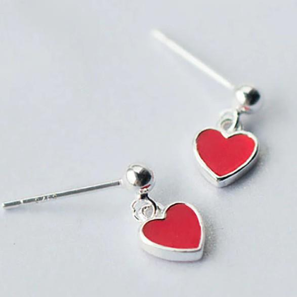 Sterling Silver Tiny Red Heart Stud Earrings - 925 Cute Heart Earrings - Drop Heart Earrings - Dangle Heart Earrings - Small Heart Earrings Lux & Rose Default Title