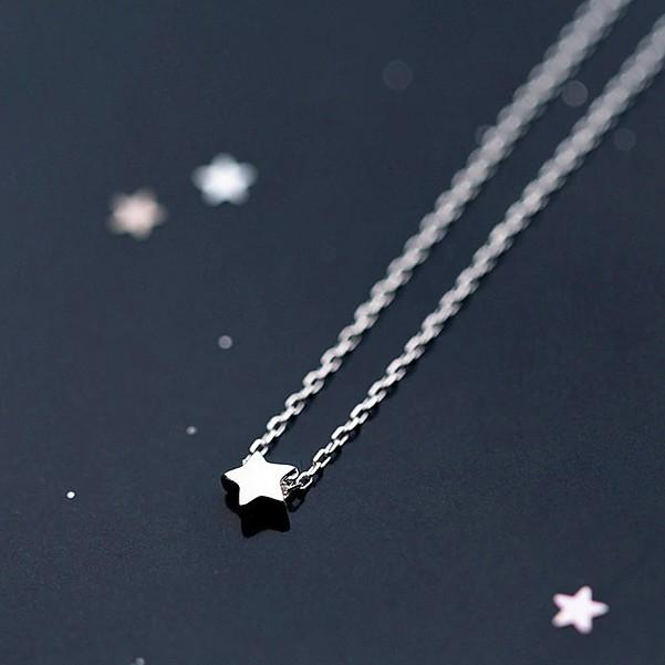 Sterling Silver Tiny Star Necklace - 925 Real Silver Necklace - Classic Silver Necklace Lux & Rose