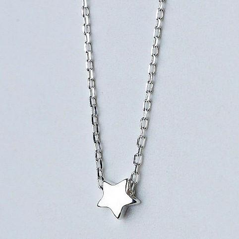 Sterling Silver Tiny Star Necklace - 925 Real Silver Necklace - Classic Silver Necklace Lux & Rose Default Title