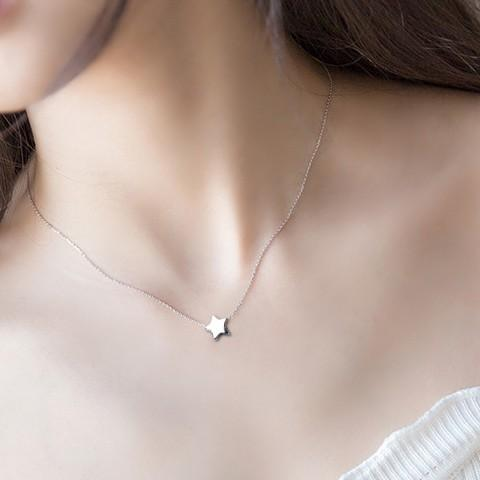 Sterling Silver Tiny Star Pendant Necklace - 925 Real Silver Necklace - Classic Silver Necklace Lux & Rose