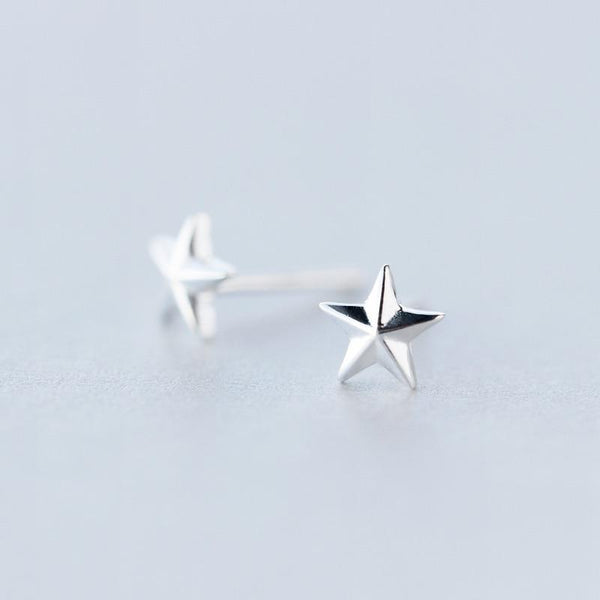 Sterling Silver Tiny Star Stud Earrings - Retro Star Stud Earrings - Vintage Star Studs - Punk Star Earrings - Tiny Silver Studs - Cute Silver Earrings Lux & Rose