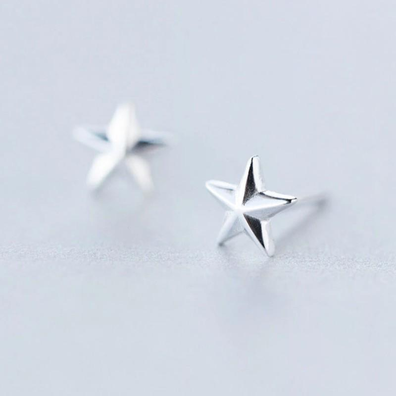 Sterling Silver Tiny Star Stud Earrings - Retro Star Stud Earrings - Vintage Star Studs - Punk Star Earrings - Tiny Silver Studs - Cute Silver Earrings Lux & Rose Default Title