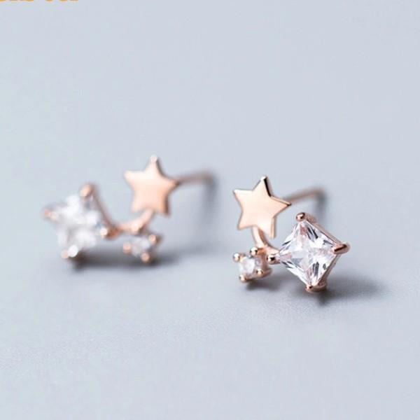 Sterling Silver Tiny Star Zircon Stud Earrings - 925 Stud Earrings - 925 Real Silver Earrings - Playful Silver Earrings - Small Dangle Earrings Lux & Rose