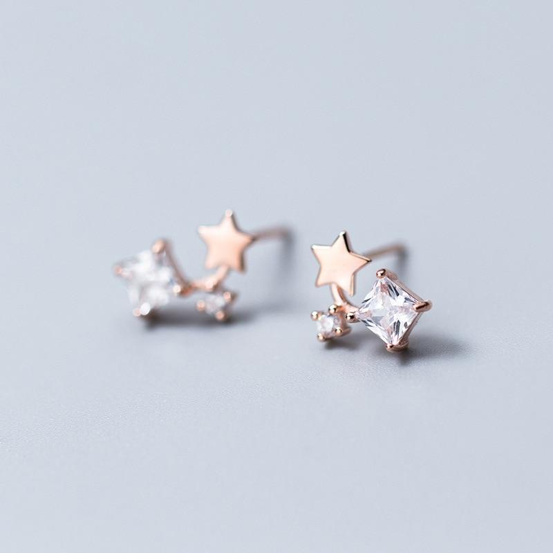 Sterling Silver Tiny Star Zircon Stud Earrings - 925 Stud Earrings - 925 Real Silver Earrings - Playful Silver Earrings - Small Dangle Earrings Lux & Rose Rose