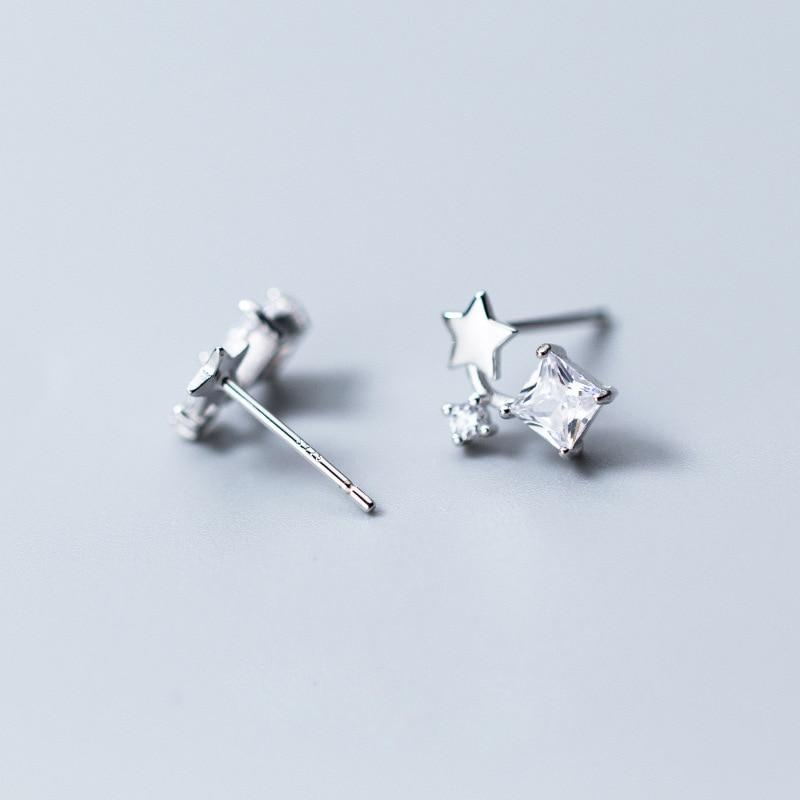Sterling Silver Tiny Star Zircon Stud Earrings - 925 Stud Earrings - 925 Real Silver Earrings - Playful Silver Earrings - Small Dangle Earrings Lux & Rose Silver