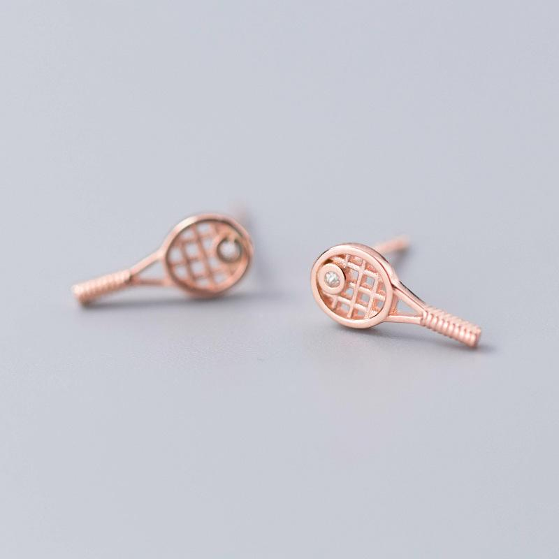 Sterling Silver Tiny Tennis Racket Stud Earrings - 925 Real Silver Earrings - 925 Stud Earrings - Playful Silver Earrings - Racquet Stud Earrings Lux & Rose 1 Pair Rose