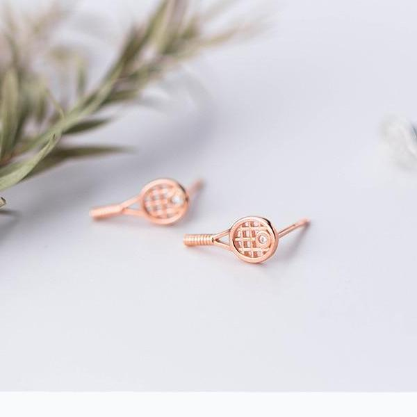 Sterling Silver Tiny Tennis Racket Stud Earrings - 925 Real Silver Earrings - 925 Stud Earrings - Playful Silver Earrings - Racquet Stud Earrings Lux & Rose