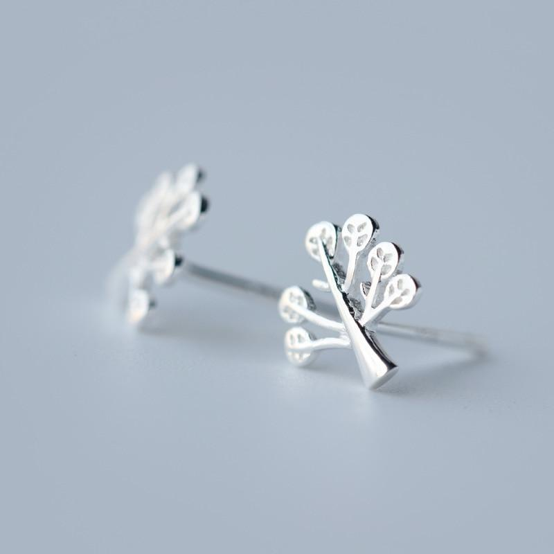 Sterling Silver Tiny Tree Stud Earrings - 925 Stud Earrings - 925 Real Silver Earrings - Playful Silver Earrings Lux & Rose
