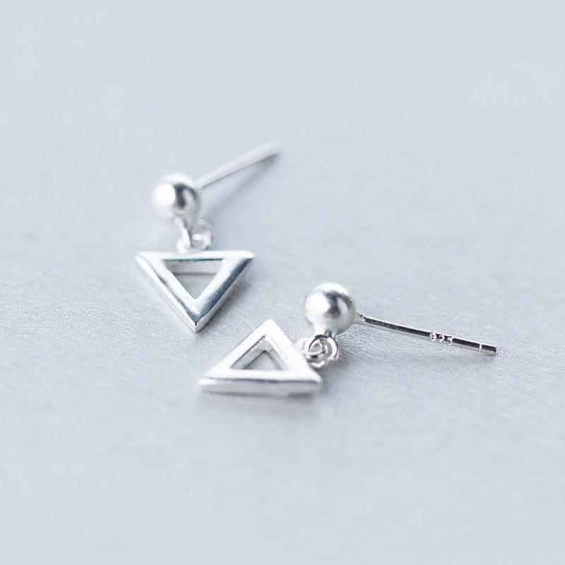 Sterling Silver Tiny Triangle Square Stud Earrings - 925 Real Silver Earrings - Stylish Silver Earrings Lux & Rose