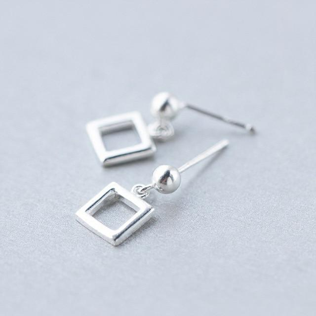 Sterling Silver Tiny Triangle Square Stud Earrings - 925 Real Silver Earrings - Stylish Silver Earrings Lux & Rose Square