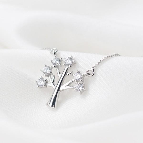 Sterling Silver Tree Pendant Necklace - 925 Real Silver Necklace - Classic Silver Necklace Lux & Rose Default Title