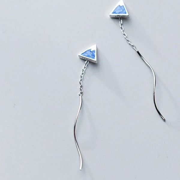 Sterling Silver Triangle Chain Earrings - Long Threader Earrings - 925 Real Silver Earrings - Playful Silver Earrings Lux & Rose Default Title