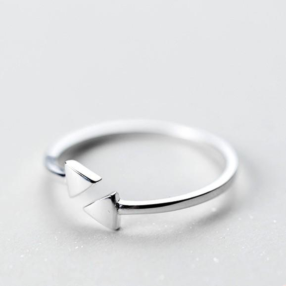 Sterling Silver Triangle Cocktail Ring - 925 Real Silver Ring - Classic Silver Ring - Adjustable Cocktail Ring Lux & Rose