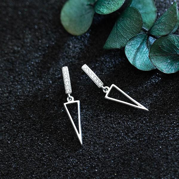 Sterling Silver Triangle Dangle Earrings - 925 Real Silver Earrings - Playful Silver Earrings Lux & Rose
