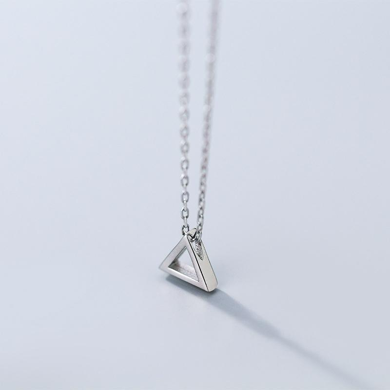 Sterling Silver Triangle Pendant Necklace - 925 Real Silver Necklace - Classic Silver Necklace Lux & Rose