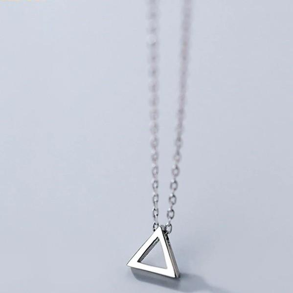 Sterling Silver Triangle Pendant Necklace - 925 Real Silver Necklace - Classic Silver Necklace Lux & Rose Default Title