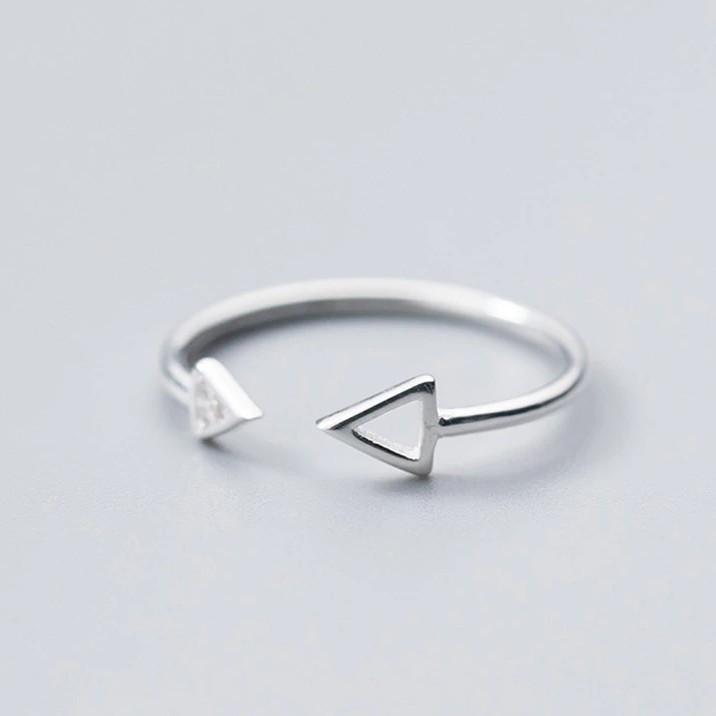 Sterling Silver Triangle Ring - 925 Real Silver Ring - Classic Silver Ring - Adjustable Cocktail Ring Lux & Rose
