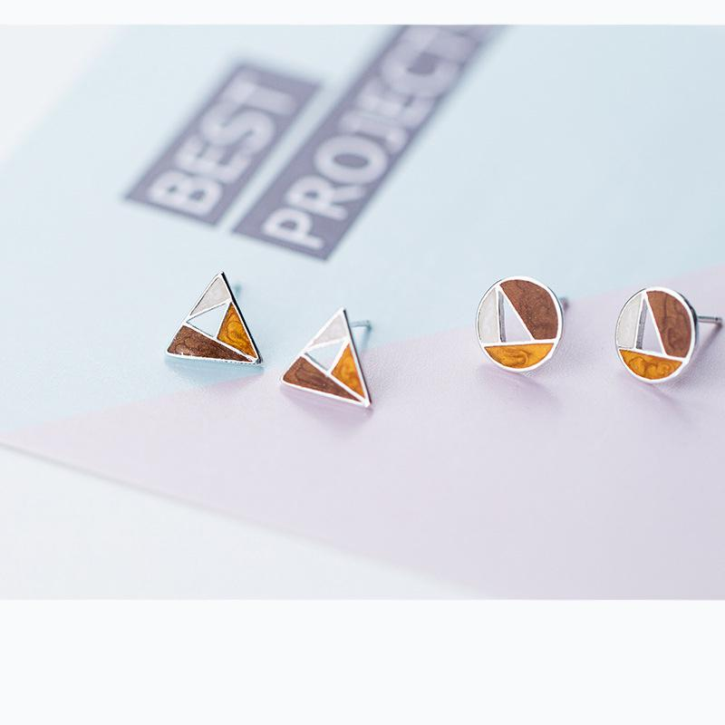 Sterling Silver Triangle Stud Earrings - 925 Stud Earrings - 925 Real Silver Earrings - Playful Silver Earrings Lux & Rose