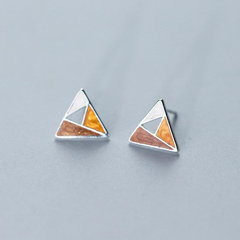 Sterling Silver Triangle Stud Earrings - 925 Stud Earrings - 925 Real Silver Earrings - Playful Silver Earrings Lux & Rose Triangle