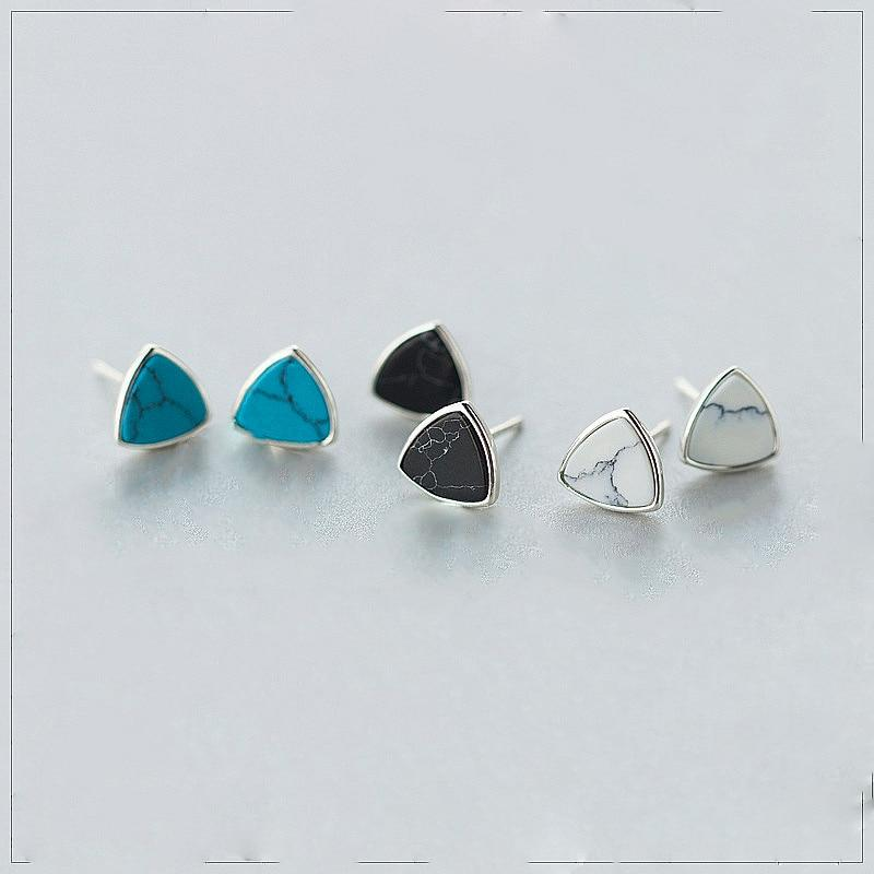 Sterling Silver Turquoise Triangle Stud Earrings - 925 Stud Earrings - 925 Real Silver Earrings - Playful Silver Earrings Lux & Rose