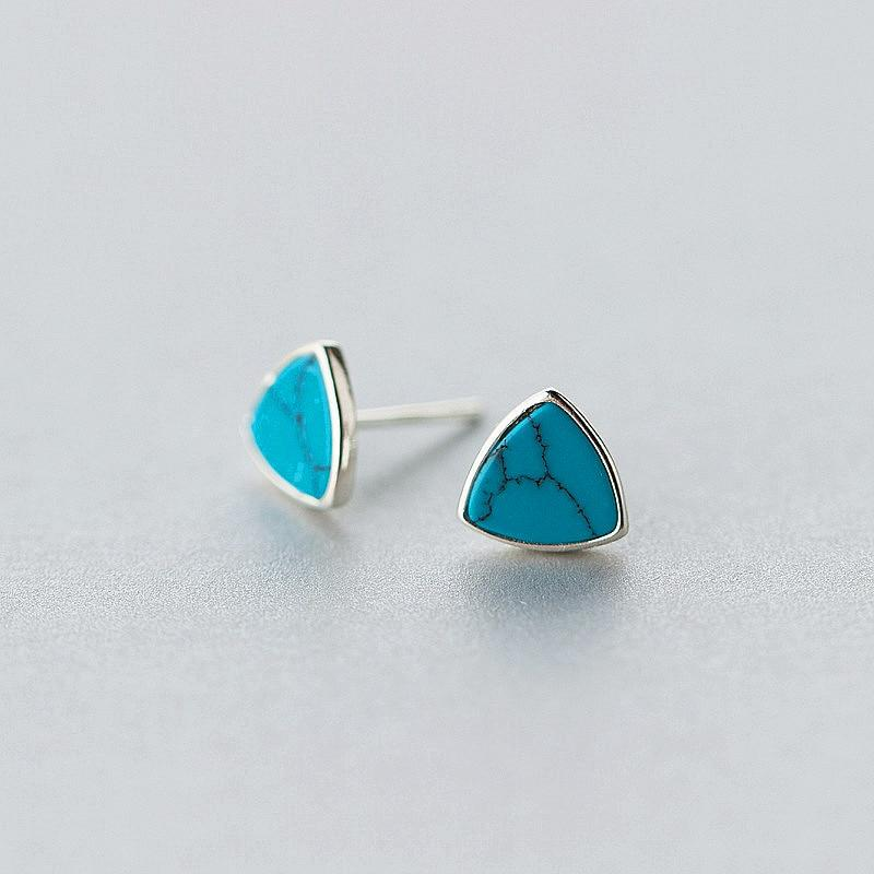 Sterling Silver Turquoise Triangle Stud Earrings - 925 Stud Earrings - 925 Real Silver Earrings - Playful Silver Earrings Lux & Rose Blue