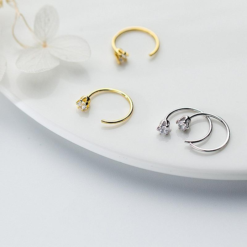 Sterling Silver Tusk Hoops Zircon Earrings - 925 Real Silver Tiny Hoop Earrings - Playful Silver Earrings - Vermeil Loop Earrings Lux & Rose