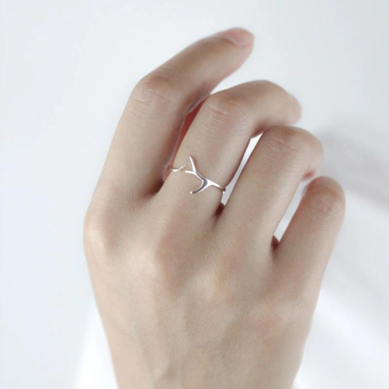 Sterling Silver Twig Antlers Ring - 925 Real Silver Ring - Adjustable Branch Ring Lux & Rose
