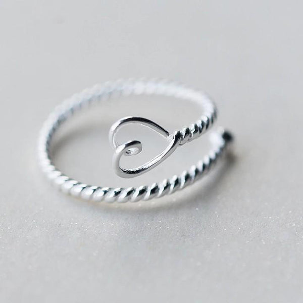 Sterling Silver Twist Heart Rings - 925 Real Silver Ring - Classic Silver Ring - Adjustable Cocktail Ring Lux & Rose