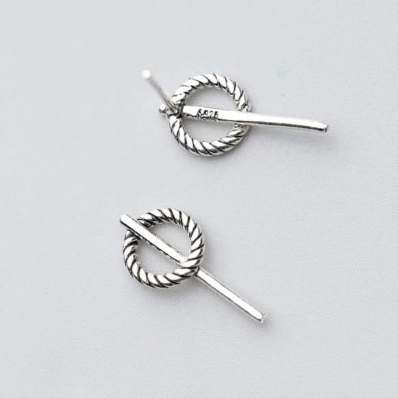 Sterling Silver Twist Round Stud Earrings - 925 Stud Earrings - 925 Real Silver Earrings - Playful Silver Earrings Lux & Rose Default Title