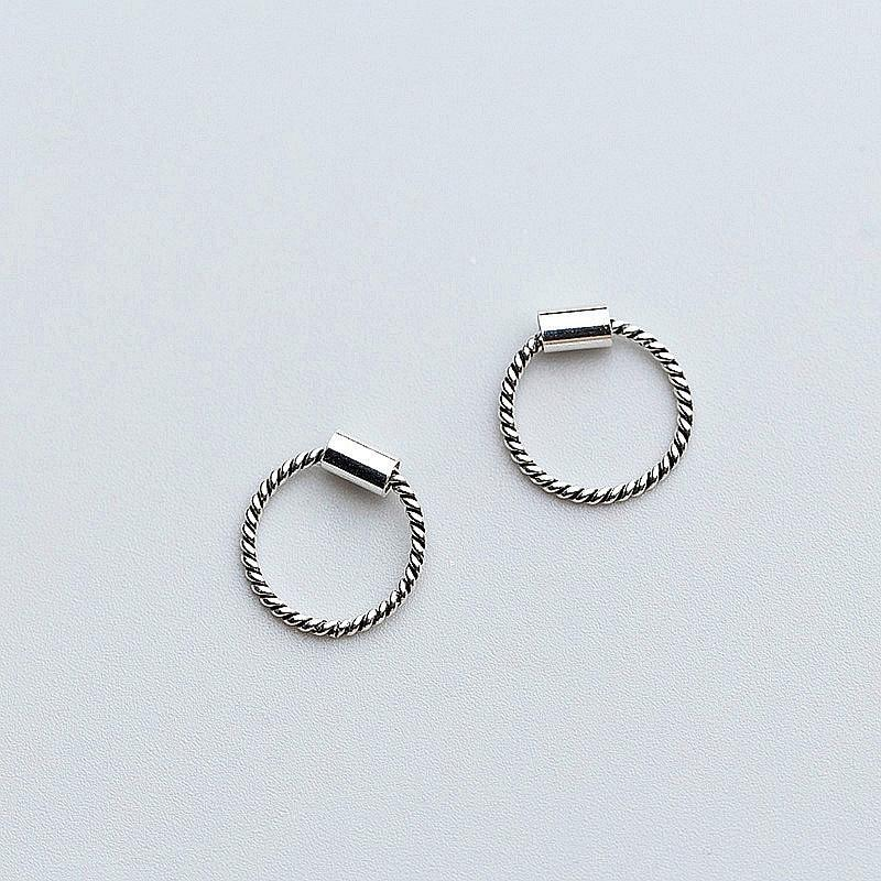 Sterling Silver Twisted Hoop Earrings - 925 Real Silver Earrings - Playful Silver Earrings - Vintage Charm Earrings Lux & Rose