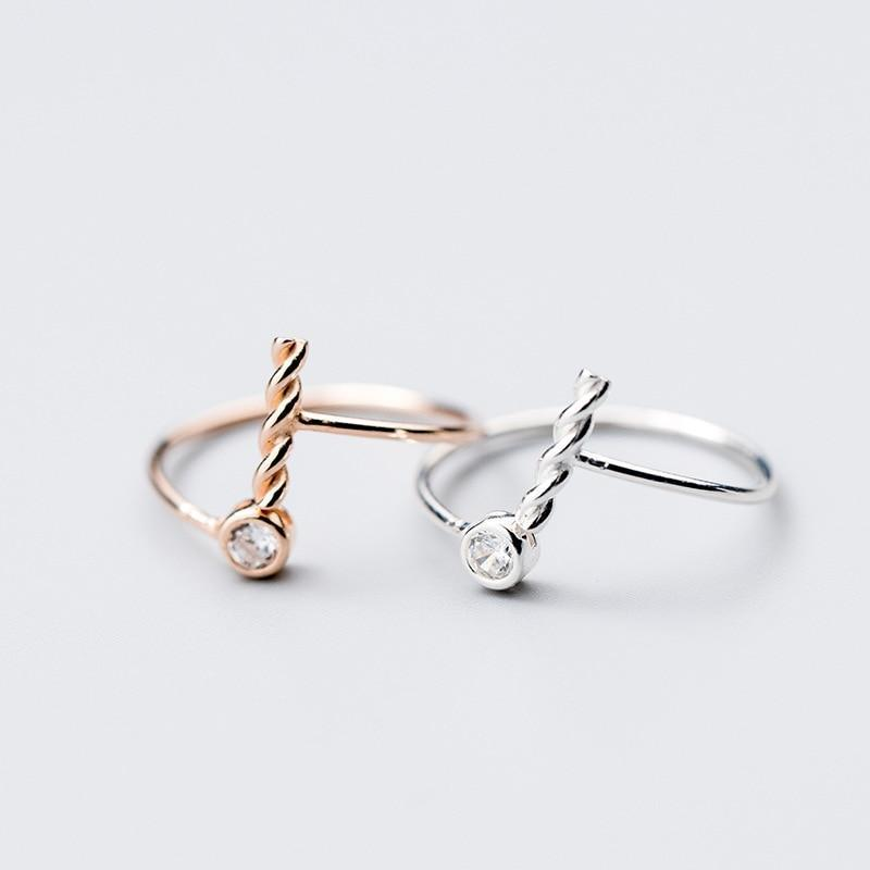 Sterling Silver Twisted Zircon Ring - 925 Real Silver Ring - Classic Silver Ring - Adjustable Cocktail Ring Lux & Rose