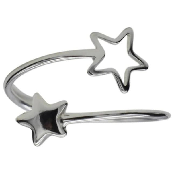 Sterling Silver Two Star Ring - 925 Real Silver Ring - Classic Silver Ring - Adjustable Cocktail Ring Lux & Rose
