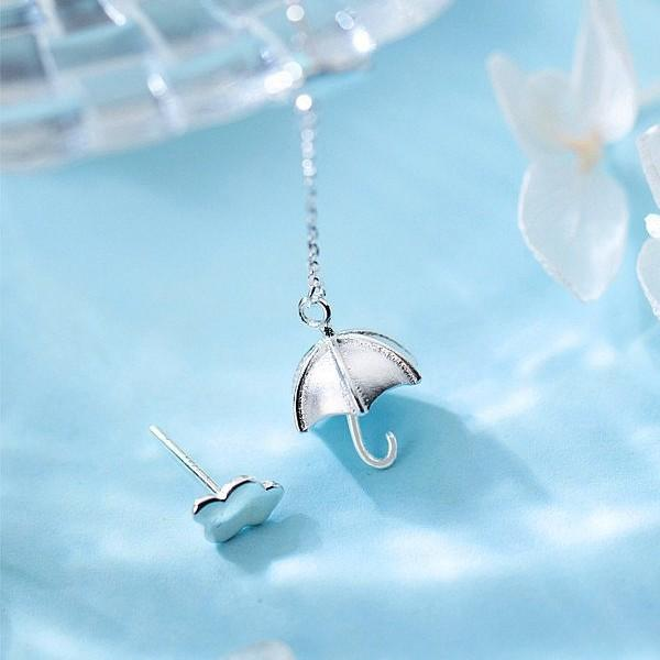 Sterling Silver Umbrella Cloud Earrings - Long Earring - Stud Earring - 925 Real Silver Earrings - Playful Silver Earrings Lux & Rose