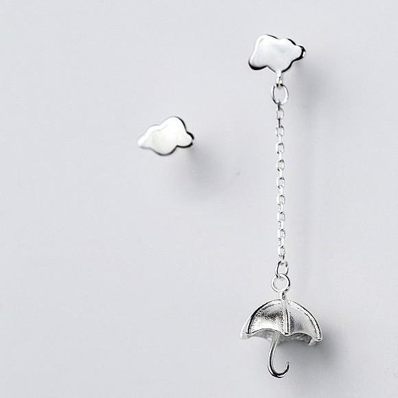 Sterling Silver Umbrella Cloud Earrings - Long Earring - Stud Earring - 925 Real Silver Earrings - Playful Silver Earrings Lux & Rose Default Title