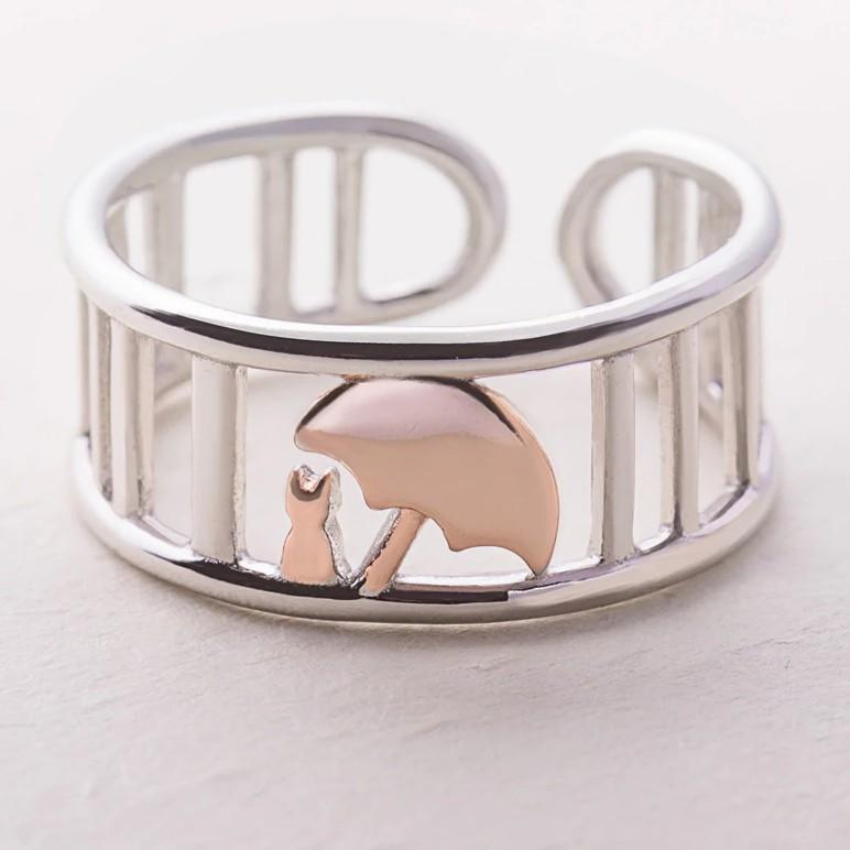 Sterling Silver Umbrella Protect Cat Ring - 925 Real Silver Ring - Classic Silver Ring - Adjustable Cocktail Ring Lux & Rose