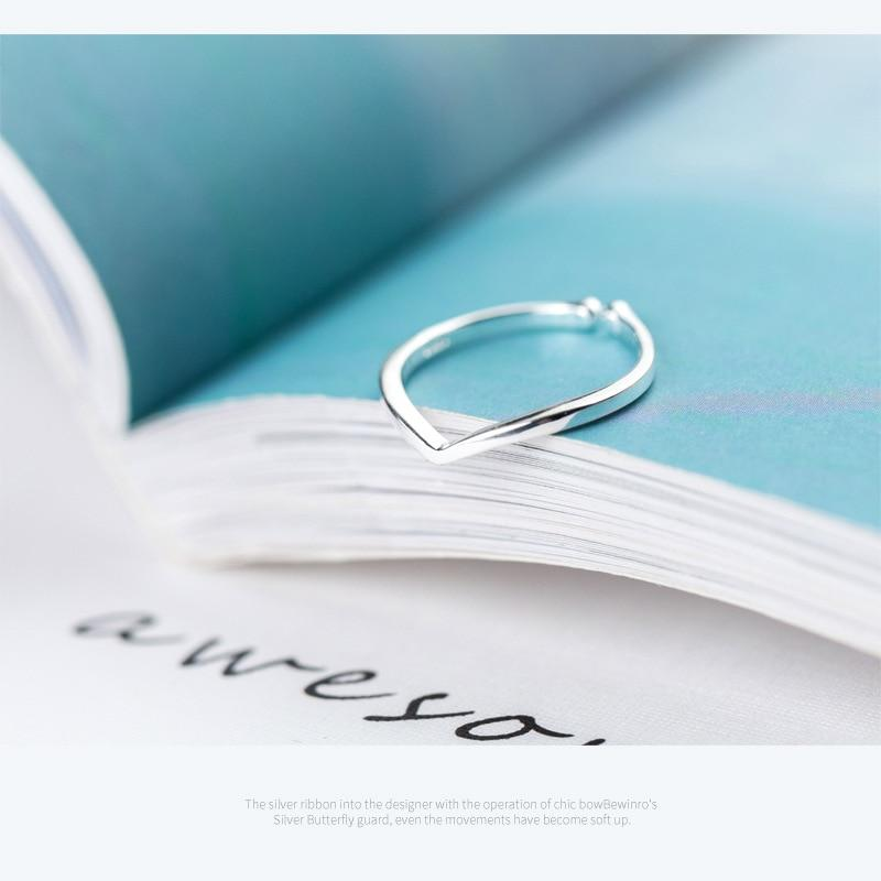 Sterling Silver V Shape Plain Ring - 925 Real Silver Ring - Classic Silver Ring - Adjustable Cocktail Ring Lux & Rose