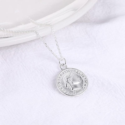 Sterling Silver Vintage Coin Pendant Necklace - 925 Real Silver Necklace - Classic Silver Necklace Lux & Rose