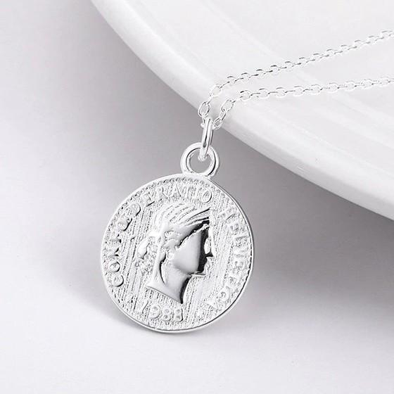 Sterling Silver Vintage Coin Pendant Necklace - 925 Real Silver Necklace - Classic Silver Necklace Lux & Rose Default Title