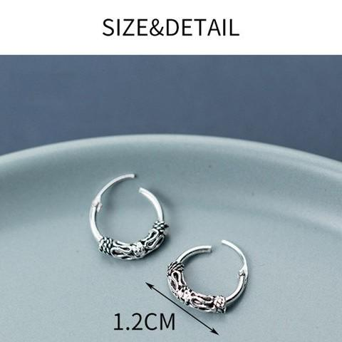 Sterling Silver Vintage Hoop Earrings - Round Earrings - 925 Real Silver Earrings - Playful Silver Earrings Lux & Rose