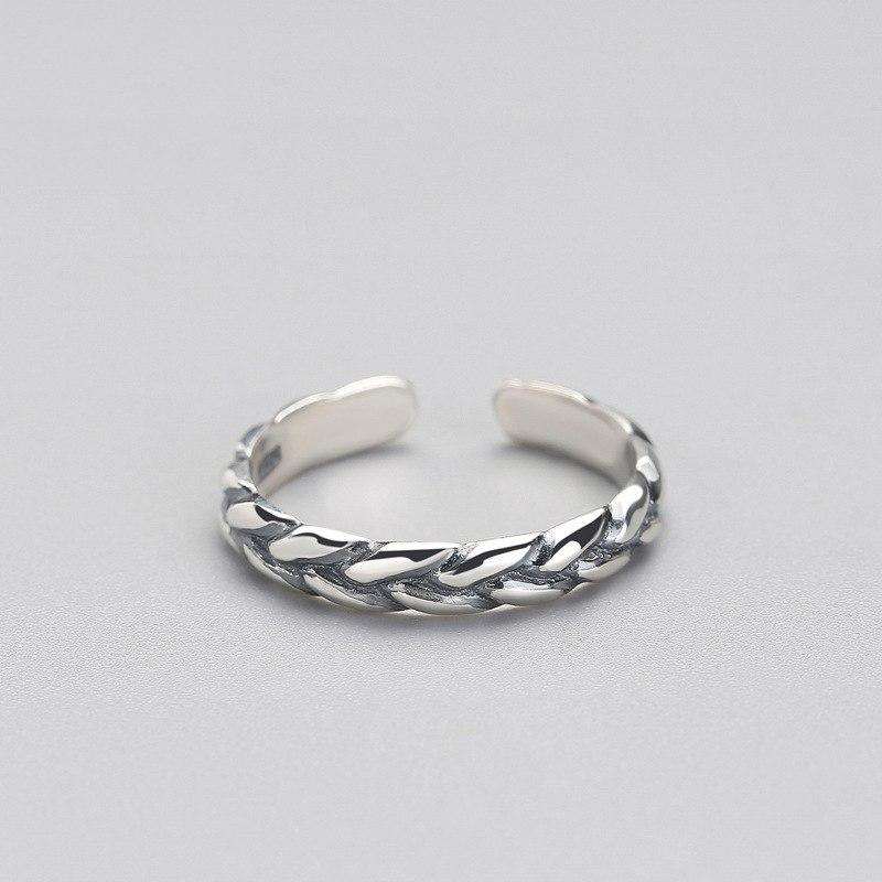 Sterling Silver Vintage Weaving Twist Ring - 925 Real Silver Ring - Classic Silver Ring - Adjustable Cocktail Ring Lux & Rose