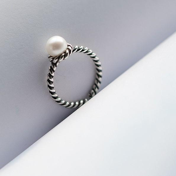Sterling Silver Vintage Woven Twisted Pearl Ring - 925 Real Ring Set - Adjustable Twisted Rings Lux & Rose